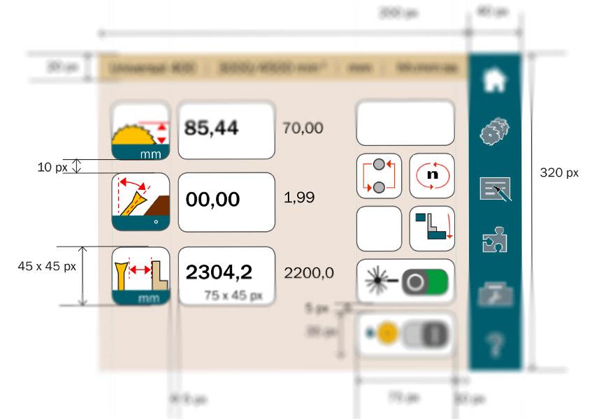 Bedienkonzept für Maschinensteuerung Tischkreissäge, Interface-Design